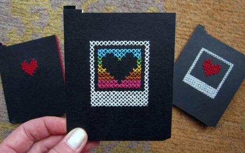 cross stitched polaroid dark slide cards