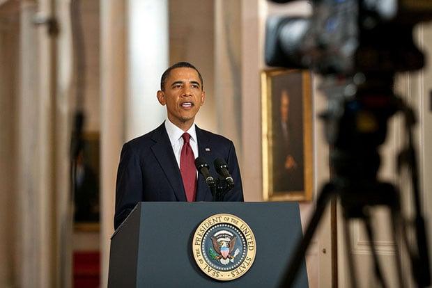 Obama Reenactment of bin Laden Speech for Press Photos ... Obama Bin Laden Speech