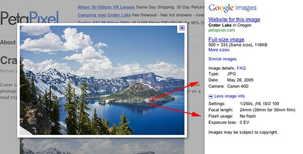 Google Adds EXIF Data to Image Search