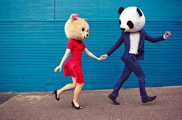 Engagement Photos With Oversized Bear Heads