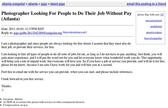 Photographer Looking For People To Do Their Job Without Pay
