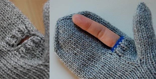 Knit a Pair of Photographer Mittens that Have a Shutter Finger Hole photogmittens mini