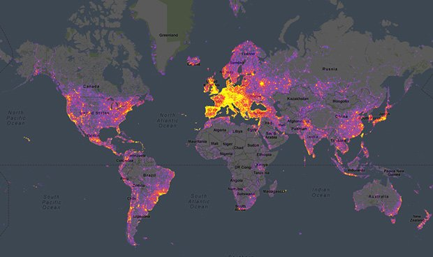 Sightseeing heatmap of popular photo spots around the world gumiabroncs Image collections