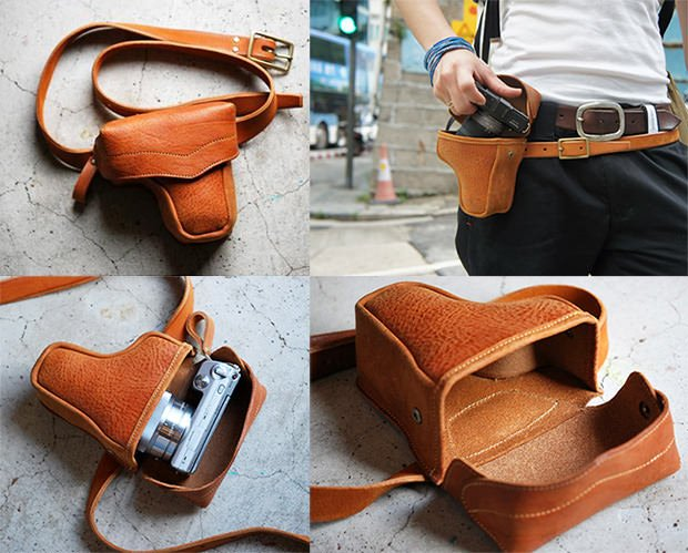 A Leather Gun Holster Camera Case Fit for Shooting in the Wild West holster mini