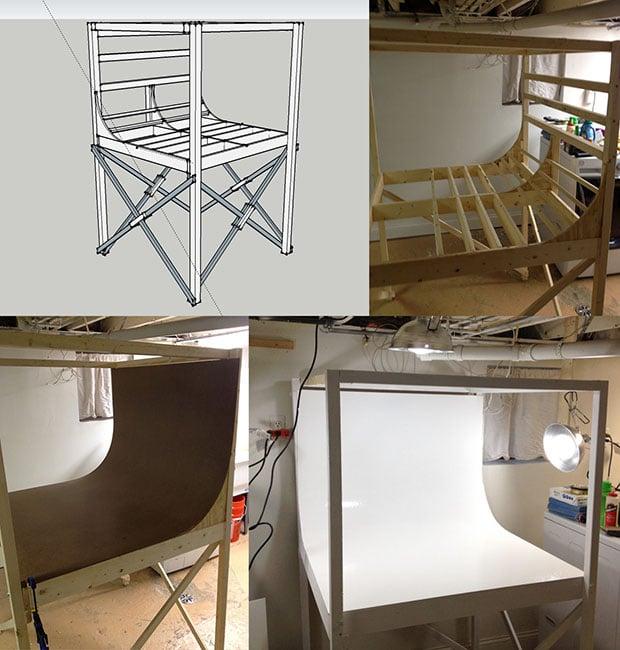 a diy mini photo studio designed using trimble sketchup. Black Bedroom Furniture Sets. Home Design Ideas
