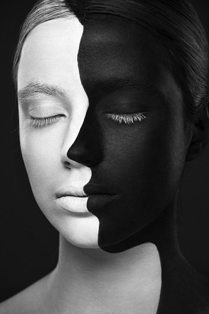 Striking Black and White Portraits of Art Painted on Faces