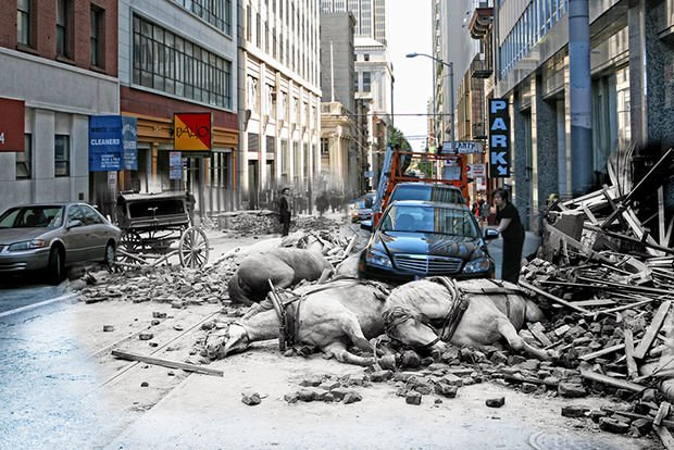 Glimpses of the 1906 Earthquake Seen in Modern Day Photos of San Francisco sfearthquake1 mini