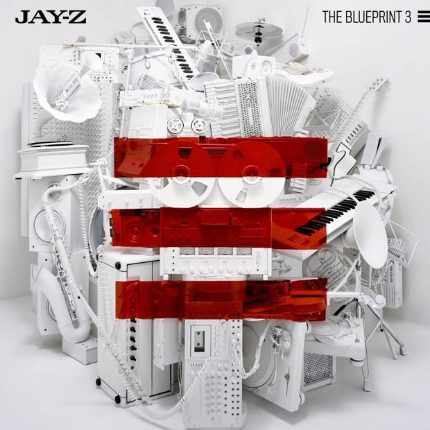 How jay zs blueprint 3 album cover was shot using a projector and the photo above is the album cover for jay zs 2009 album blueprint 3 featuring a photo of a pile of musical instruments and recording equipment with three malvernweather