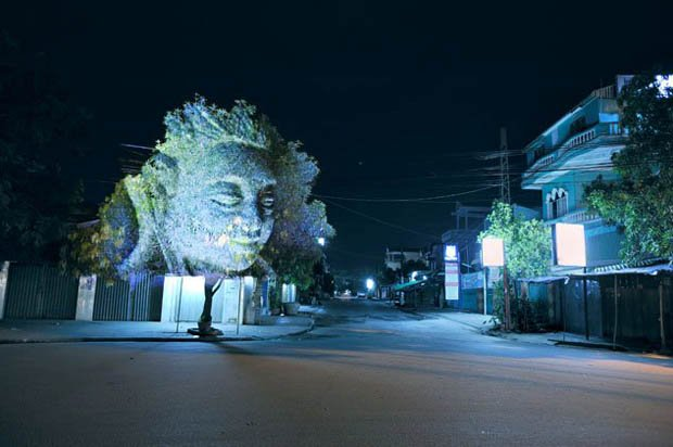 Photos of Faces Projected Onto Trees cambodiatrees 3