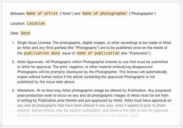 Artist Agreement Contract. A Collection Of Free Sample Legal Forms For  Photographers