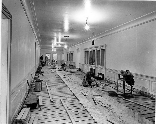 West View in the Third Floor Corridor of the White House during the Renovation
