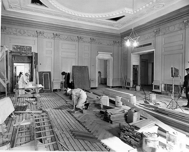 ... Northeast View of the State Dining Room during the White House  Renovation