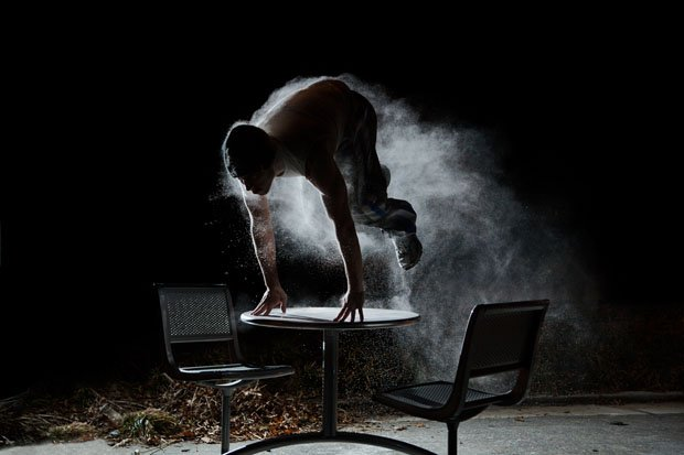 the beauty of parkour photographed with a flash and some flour. Black Bedroom Furniture Sets. Home Design Ideas