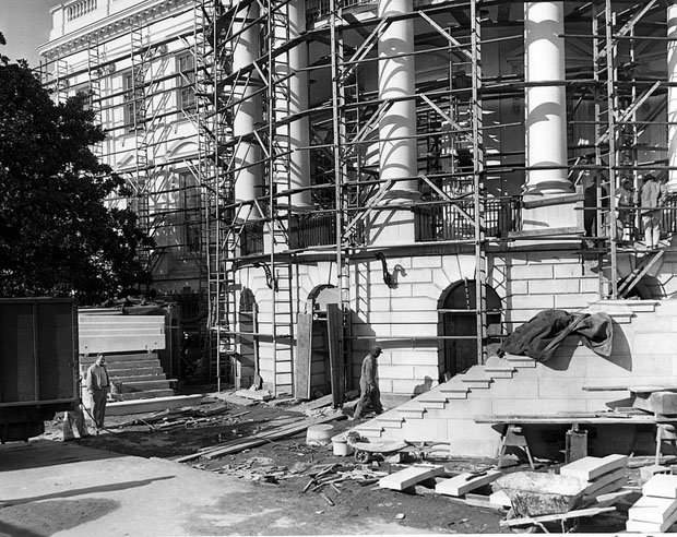 New Steps of the South Portico Being Erected during the White House Renovation