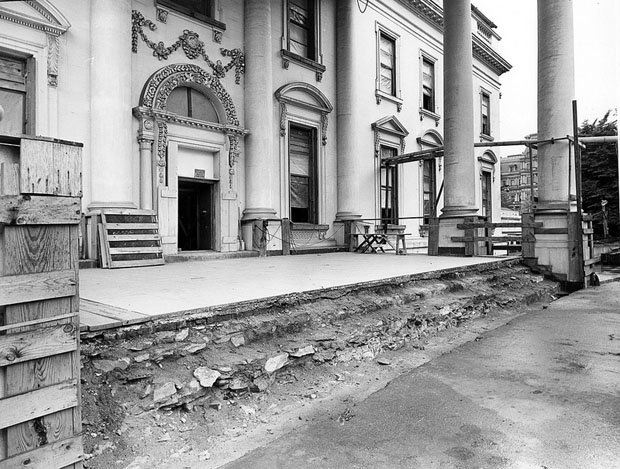 Southwest View of the North Portico of the White House during the Renovation