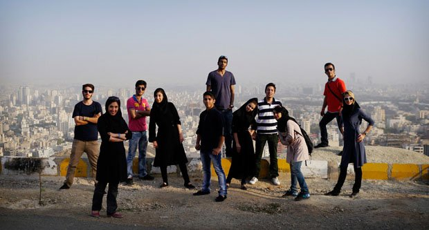 """A group of friends in the hills above Tehran. Many (every single one I met) young Iranians feel deeply embarassed by their government, and the way the nation is perceived abroad. Zac Clayton, a British cyclist who will finish a round-the-world cycle on March 23 describes Iran as having the kindest people of any country he cycled through. """"I found most Iranians - particularly the younger generation - to be very aware of the world around them ... with a burning desire for the freedoms they feel they are being denied by an out of touch, ultra-conservative religious elite."""""""