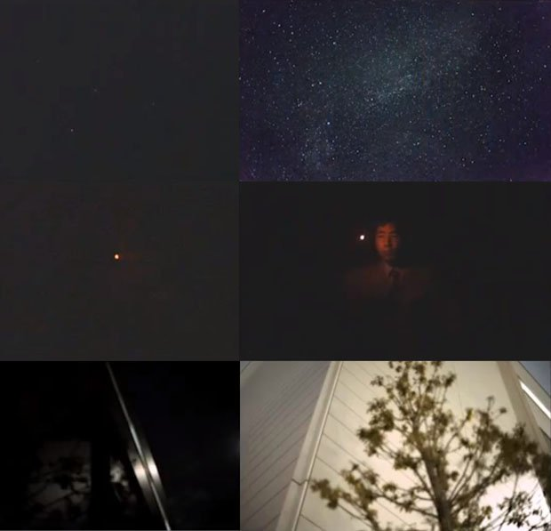 Before (left) and after (right) comparisons of identical scenes showing traditional sensors versus Canon's new sensor. From top to bottom, we see a starry night sky, a candlelit room, and a moonlit outdoor location.