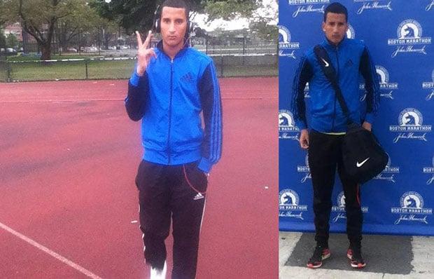 Photos of Salah Barhoum at school and at the marathon