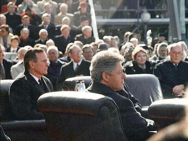 Former Presidents George H.W. Bush and Bill Clinton at former President Clinton's 1993 inauguration.