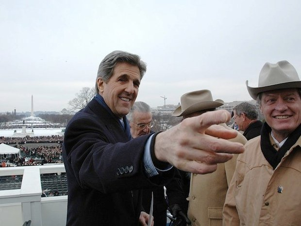 Sen. John Kerry on the steps of the Capitol building the day of George W. Bush's second inauguration.