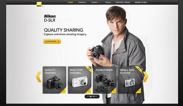 Nikon has an entire microsite dedicated to Ashton Kutcher