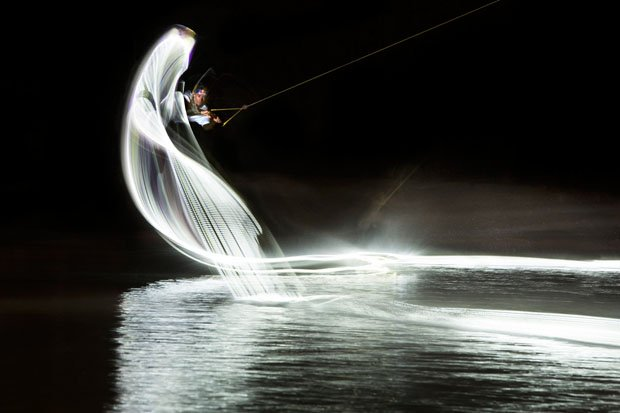 Experimental Light Painting Photographs With Lights Strapped To Wakeboards