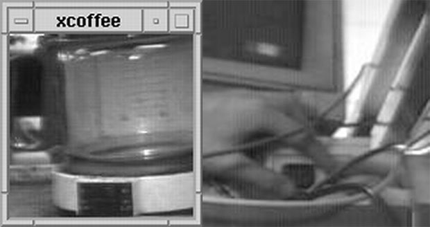 A sample still from the first webcam (left) and the last photo the webcam ever shot (right)