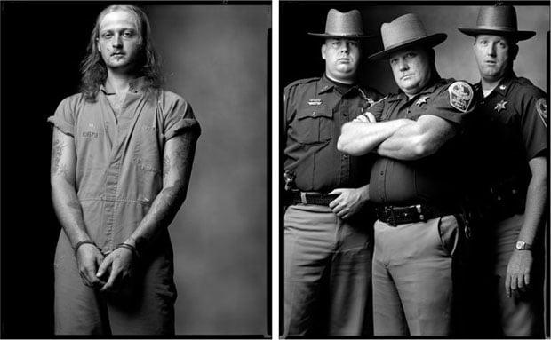 Bank robber and deputies