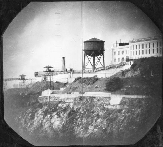 The water tower on Alcatraz Island