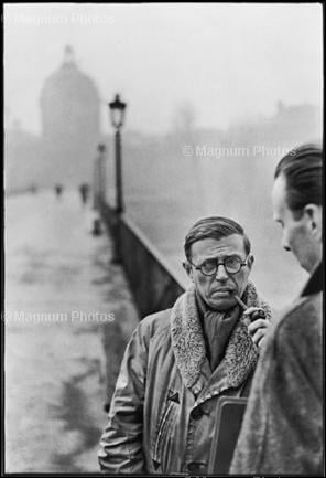 FRANCE. Paris. Pont des Arts. French writer and philosopher, Jean-Paul SARTRE. 1946. © Henri Cartier-Bresson