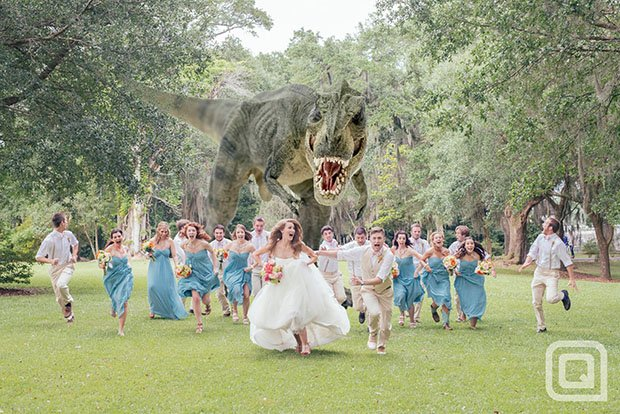 Wedding Photograph Features a Hungry T-Rex Chasing the Bridal Party