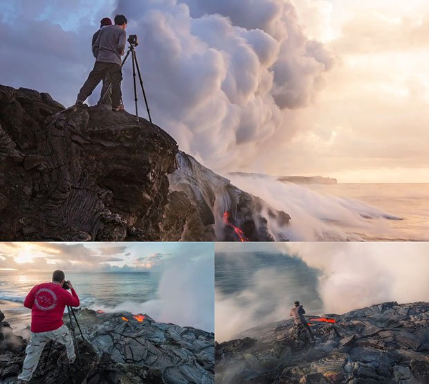 Photographer Gets So Close to Lava That His Shoes and Tripod Melt