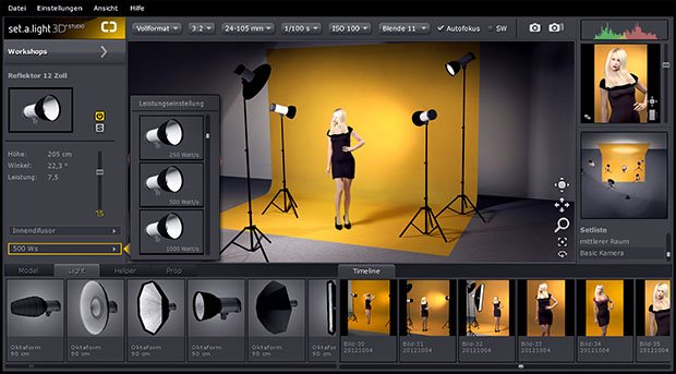 Simulate Lighting in a Virtual Photo Studio with setalight 3D STUDIO