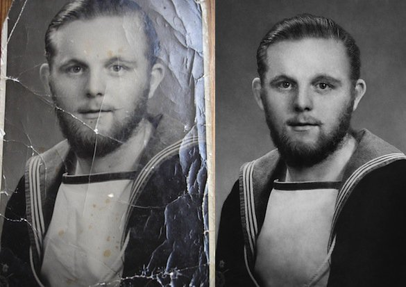 Redditors Pitch In to Help Restore an 87 Year Old Grandfathers WWII Photo wwIIphoto