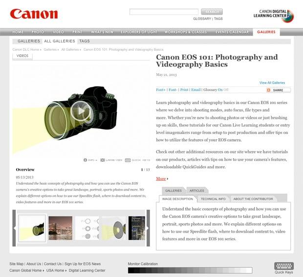 Canon EOS 101 Video Series