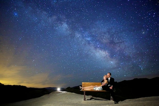 Long Exposure Engagement Photos Shot Under the Starry Night Sky