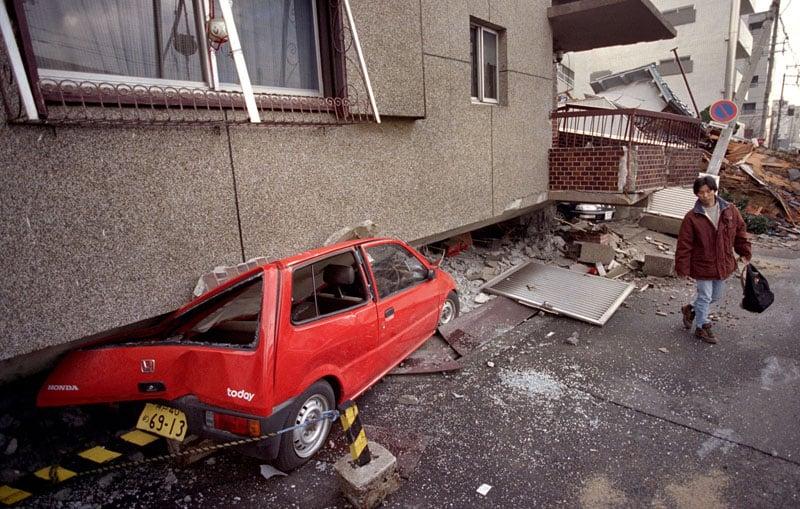 1994 Kobe earthquake smashed car