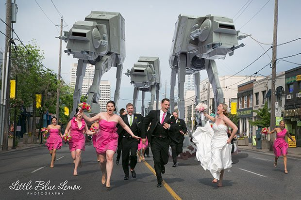 Wedding Party Running from Imperial AT-AT Walkers