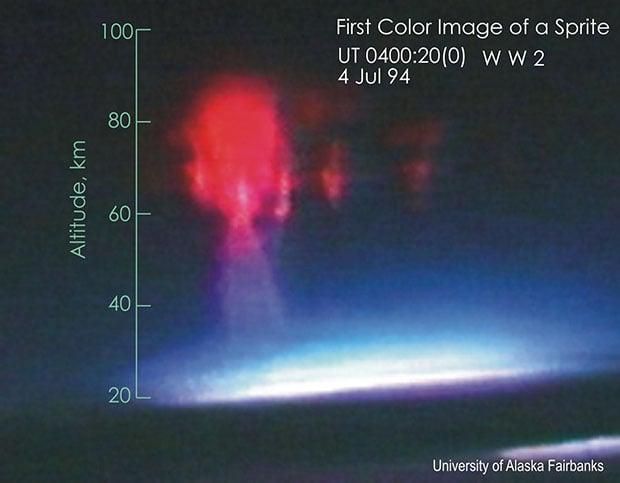 Photographer Captures Rare Photograph of a Sprite with an Aurora firstphoto