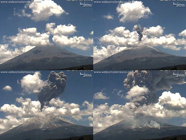 Webcam Captures Volcano Explosion and Shockwave in a Time-Lapse Video