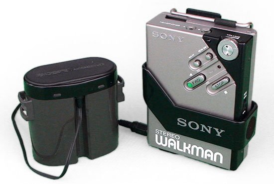 The cutting-edge Sony Walkman of 1981, complete with belt-pack battery. Courtesy Wikipedia Commons.