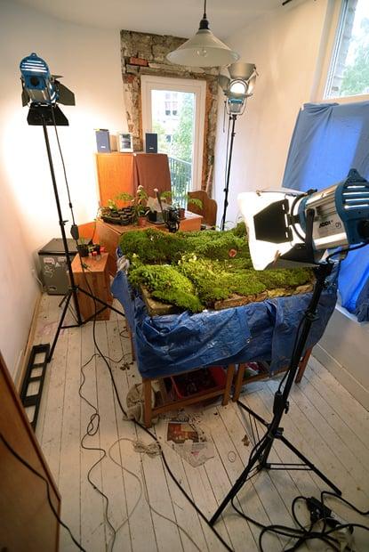 The studio setup.