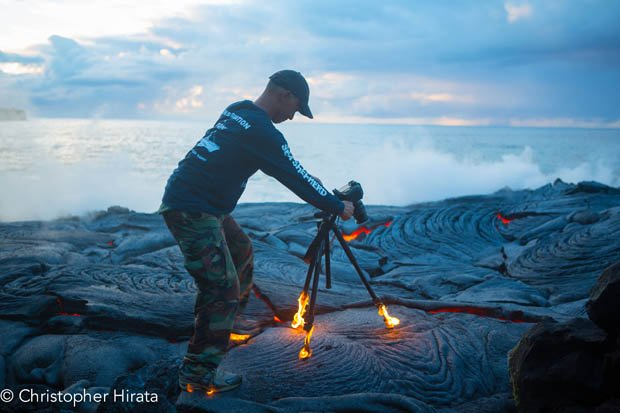 Photographer Gets So Close to Lava That His Shoes and Tripod Catch on