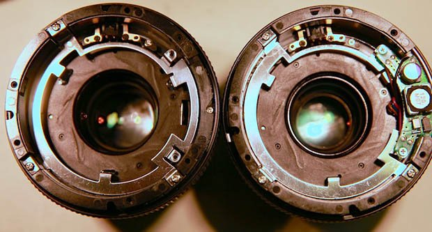 A 6-month old Canon 85mm f/1.8 (left) and an 18-month old copy (right).