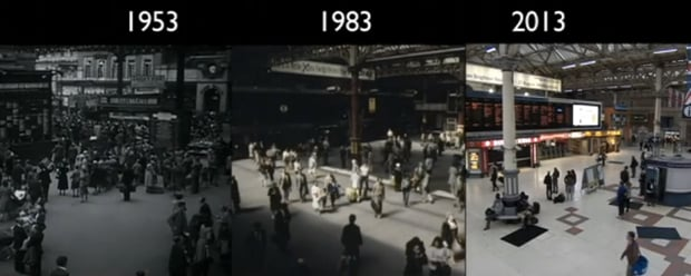 Time-Lapse Captures the Train Ride from London to Brighton in 1953, '83 and 2013
