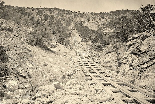 A wooden balanced incline used for gold mining. Taken at the Illinois Mine in the Pahranagat Mining District in Nevada in 1871.