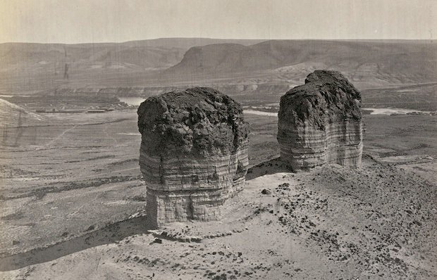 Twin buttes near Green River City, Wyoming. Taken in 1872.