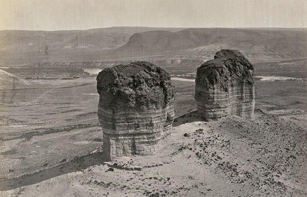 Twin buttes near Green River City, Wyoming. Taken in 1872.