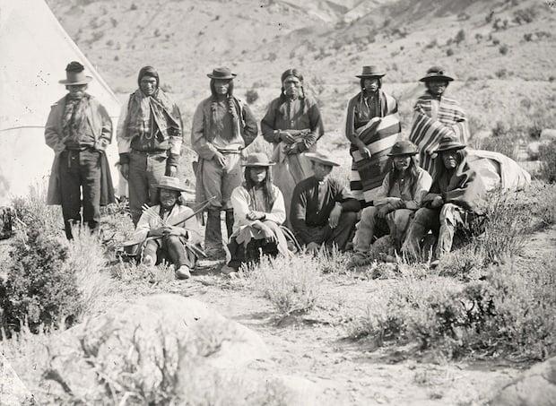 Pah-Ute (Paiute) Indian group, near Cedar, Utah. Taken in 1872.