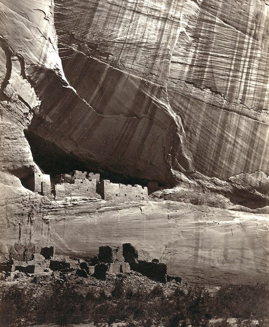 View of the White House, Ancestral Pueblo Native American (Anasazi) ruins in Canyon de Chelly, Arizona. Taken in 1873.